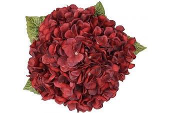 (Dark Red,5 Flower Heads) - Blooming Paradise Artificial Fake Flowers Plants Silk Hydrangea Arrangements Wedding Bouquets Decorations Plastic Floral Home Kitchen Garden Party Festival Bar DIY (Dark Red,5 Flower Heads)