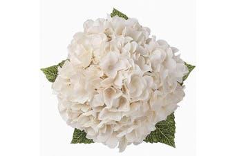 (White, 5 Flower Heads) - Blooming Paradise Artificial Silk Hydrangea Bouquet Fake Flowers Arrangement Home Wedding Decor,1 Bunch of 5 Flowers Fake Floral Centerpices Arrangements DIY White
