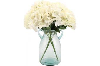 (White) - Blooming Paradise Artificial Silk Hydrangea Bouquet Fake Flowers Arrangement Home Wedding Decor,1 Bunch of 6 Flowers Fake Floral Centrepieces Arrangements DIY White