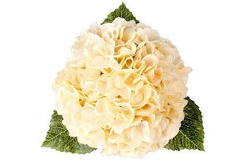 (Champagne,5 Flower Heads) - Blooming Paradise 5Heads Artificial Fake Flower Plants Silk Hydrangea Arrangements Wedding Bouquets Decoration Plastic Home Kitchen Garden Party Table Floral centrepieces DIY(Champagne)