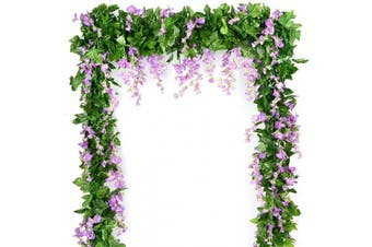 (Purple Wisteria) - Wisteria Garland Artificial Silk Wisteria Vine 5pcs 2.2m/Piece Ivy Leaves Garland Wisteria Artificial Flowers Hanging Plants Greenery Fake Vines for Wedding Garland Arches Home Party Decor(Purple)