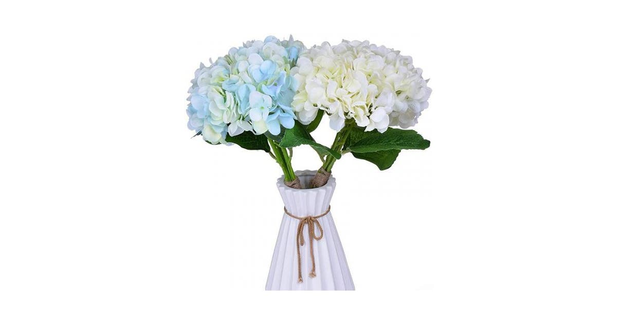 Blooming White Blue Hydrangea Flowers 2 Bouquets Of Silk Fake Plants Artificial Flower Arrangements Of Home Decorations Living Room Kitchen Wall Decor Floral Art And Bridal Bouquets For Wedding Matt Blatt
