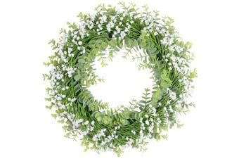"(18"" Baby Breath White) - Pauwer Artificial Flower Wreath Fake Floral Wreath with White Baby's Breath Flowers 46cm Decorative Wreath Farmhouse White Flower Wreath for Front Door"