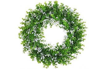 """(17"""" Mix Eucalyptus) - Pauwer 43cm Artificial Green Eucalyptus Wreath with White Flowers Farmhouse Greenery Leaves Wreath Decorative Welcome Door Wreath for Front Door Wall"""