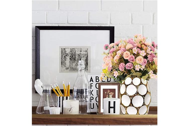 HO2NLE 4Pcs Artificial Flowers Bouquet Wedding Fake Flowers Silk Faux Flowers with Stems for Wedding Bridal Party Home Table Office Cafe Decor