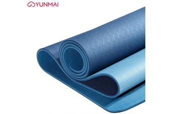 "(Blue) - YUNMAI TPE Yoga Mat Premium with Carrying Bag 1/4 Double-Sided Odourless Non-Slip 6mm Pilates Mats High Grip 72"" X 24"" Exercise Mat ECO Friendly Training Mats Gym Home Outside"