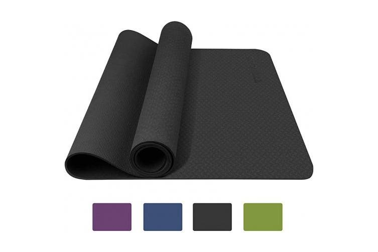 (Black) - TOPLUS Yoga Mat, Fitness & Exercise Mat - Classic 4mm Thick Eco Friendly Non Slip Workout Mat with Carrying Strap for Yoga, Pilates, Gym and Floor Workouts