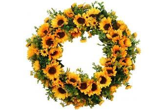 """(16"""" Sunflower) - Pauwer 41cm Artificial Sunflower Wreath Fall Front Door Wreath Indoor Outdoor Silk Yellow Flower Wreath for Door Window Wall Decor"""