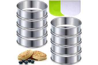 8 Pieces 8cm Double Rolled Tart Rings Stainless Steel Muffin Rings and 2 Pieces Dough Scrapers Bowl Scrapers for Home Cooking Baking Tools