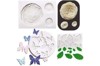 (Flowers & Leaves Fondant Mold) - 3PCS Rosette Fondant Mould Rose Flower Leaf Fondant Mould Butterfly Fondant Mould Rose Silicone Cake Decoration Moulds Gumpaste 3D Silicone Moulds for Polymer Clay, Cupcakes, Resin Sugar