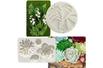 (Succulents Fondant Mold) - 2PCS Fondant Mould Succulent Silicone Fondant Mould Fern Fondant Mould Succulent Leaves Silicone Candy Moulds Cake Decoration Moulds Gumpaste 3D Silicone Moulds for Polymer Clay, Cupcakes, Resin Sugarcraft