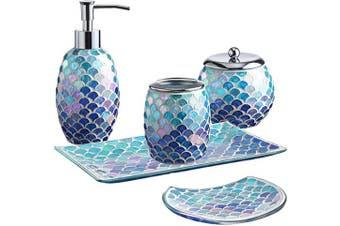 Whole Housewares 5-Pieces Bathroom Accessory Set Bright-Coloured Mosaic Glass Bath Ensemble-Lotion Dispenser/Toothbrush Holder/Cotton Jar/Vanity Tray/Soap Dish(Mermaid)