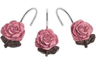 (Retro Pink) - AGPTEK Shower Curtain Hooks, 12 PCS Anti Rust Decorative Vintage Resin Rose Hooks for Bathroom,Baby Room, Bedroom, Living Room