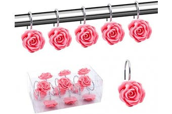 (Pink) - BEAVO Shower Curtain Hooks, Home Decorative Rustproof Shower Curtain Hooks Resin Rose Flower Shower Hooks Rings for Bathroom Shower Rods Curtains,Set of 12 Hooks (Pink)