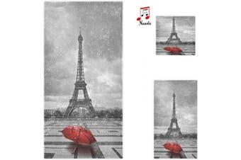 (Eiffel Tower) - Naanle Stylish Rain Paris Eiffel Tower with Red Umbrella Soft Luxury Decorative 3 Pieces Set Towels, 1 Bath Towel+1 Hand Towel+1 Washcloth, Multipurpose for Bathroom, Hotel, Gym, Spa and Beach