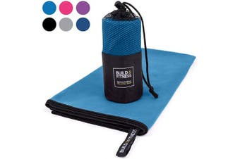 (Blue, Medium 100x50cm) - Microfibre Towel in carry bag. Quick Drying - Compact - Super Absorbent - Lightweight. Perfect Travel, Beach & Sports towel for Gym, Swimming, Camping, Beach, Travel, Fitness, Yoga, Sports