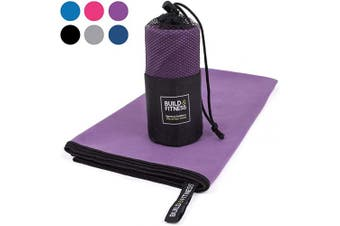 (Purple, Medium 100x50cm) - Microfibre Towel in carry bag. Quick Drying - Compact - Super Absorbent - Lightweight. Perfect Travel, Beach & Sports towel for Gym, Swimming, Camping, Beach, Travel, Fitness, Yoga, Sports
