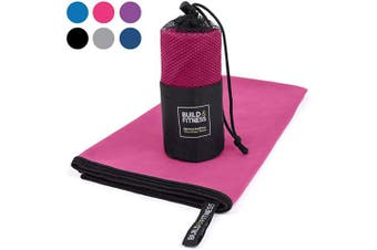 (Pink, Medium 100x50cm) - Microfibre Towel in carry bag. Quick Drying - Compact - Super Absorbent - Lightweight. Perfect Travel, Beach & Sports towel for Gym, Swimming, Camping, Beach, Travel, Fitness, Yoga, Sports