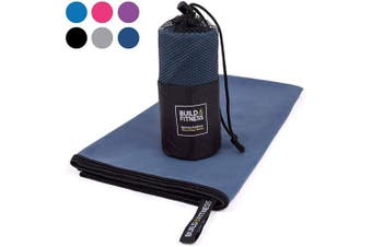 (Navy, Medium 100x50cm) - Microfibre Towel in carry bag. Quick Drying - Compact - Super Absorbent - Lightweight. Perfect Travel, Beach & Sports towel for Gym, Swimming, Camping, Beach, Travel, Fitness, Yoga, Sports
