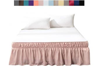(Queen/King 36cm , Pink) - AYASW Bed Skirt Dust Ruffle Three Fabric Sides No Top(Queen/King 36cm ,Pink)