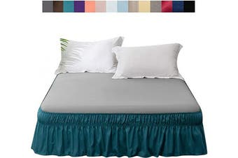 (Queen/King 46cm , Teal) - AYASW Bed Skirt Dust Ruffle Three Fabric Sides Wrap Around No Top (Queen/King 46cm , Teal)