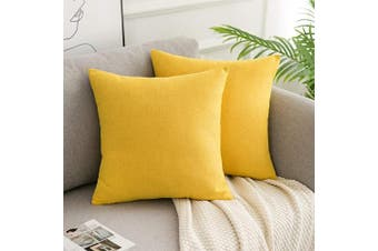 (60cm  x 60cm , Yellow) - WLNUI Yellow Pillow Covers Set of 2 Decorative Square Throw Pillow Covers Cotton Linen Cushion Case for Sofa Couch Home Farmhouse Decor 60cm x 60cm