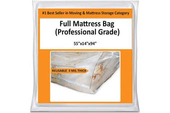 Full Mattress Bag Cover for Moving Storage - Plastic Protector 4 Mil Thick Supply