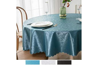 (180cm  Round, Blue) - smiry Waterproof Vinyl Tablecloth, Round Stain-Proof Oil-Proof Heavy Duty Table Cloth, Wipeable Table Cover for Kitchen and Dining Room (Blue, 180cm Round)