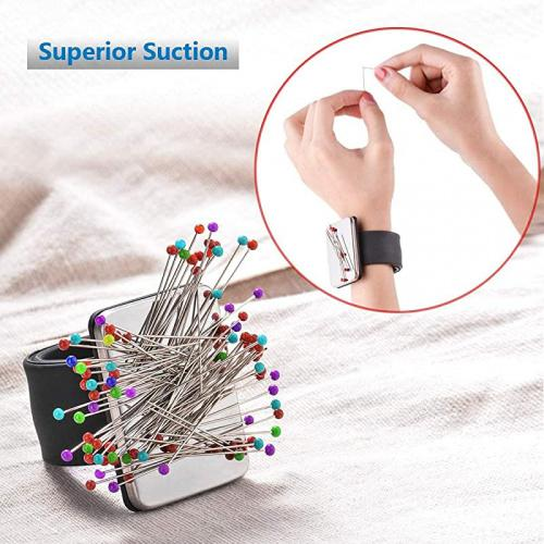 Silicone Wrist Strap Bracelet(No pins) Pin Cushion Holder for Hair Clips Sewing 2 Pack Magnetic Wrist Sewing Pincushion
