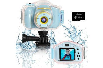 (Blue) - Agoigo Kids Waterproof Camera Toys for 3-12 Year Old Boys Girls Christmas Birthday Gifts Kids Underwater Sports Camcorder Camera HD Children Digital Action Camera 5.1cm Screen with 32GB Card (Blue)