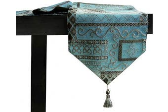 (300cm  x 33cm , Blue Abstract) - Artbisons Table Runner Handmade Golden Table Runner (120x13, Blue Abstract)
