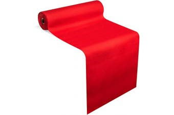 """(Red) - American Homestead Red Linen-Like Paper Dining Table Runner for Party 24m – Disposable Tablecloth/Table Cover Roll - Perforated, Strong, Absorbent & Compostable –16"""" x 48'' 20 Sheets (Red)"""