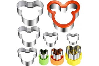 Mickey Mouse Cookie Cutter Set,Stainless Steel Sandwich Cutter Set Mickey Mouse Cookie Vegetable Fruit Cutter Biscuit Mould for Kids Suitable for Cakes and Cookie