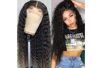 (60cm , Curly) - Baluiki Brazilian Unprocessed Virgin Human Hair Curly 4x 4 Lace Front Wigs Human Hair With Baby Hair 150% Density For Black Women Natural Colour (60cm , Curly)
