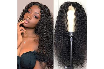 (46cm , Curly) - Baluiki Brazilian Unprocessed Virgin Human Hair Curly 4x 4 Lace Front Wigs Human Hair With Baby Hair 150% Density For Black Women Natural Colour (46cm , Curly)
