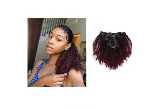 African American Afro Kinky Curly Clip ins Hair Extensions Double Weft Top Grade Brazilian Virgin Hair, Two Tone Ombre Burgundy Wine Red T#1B/99j 120 Gramme, 46cm