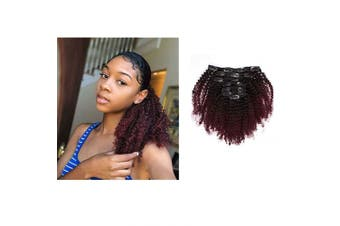 Caliee Virgin Hair Afro Kinky Curly Clip ins Human Hair Extension Brazilian 4A and 4B Curly for African American Black Women Red Brown Blonde T#1B/99j 120 Gramme,41cm