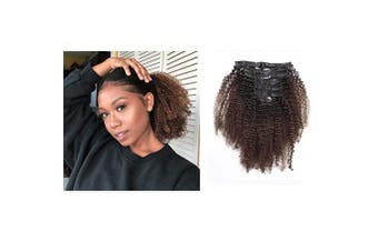 Afro Kinky Curly Afro 4B and 4C Coily Clip ins Hair Extensions Double Weft Top Grade Brazilian Natural Black Hair and Brown Two Tone Hair T#1B/4, 7 Piece, 50cm