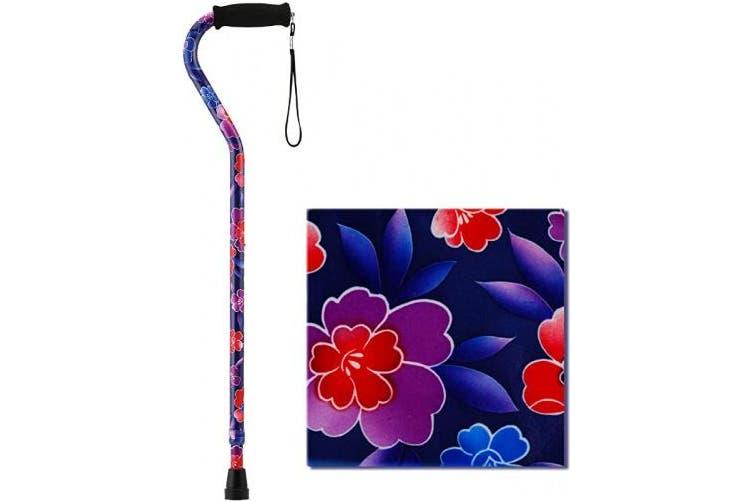 """(Maui Flowers) - NOVA Designer Walking Cane with Offset Handle, Lightweight Adjustable Walking Stick with Carrying Strap,""""Maui Flowers"""" Design"""