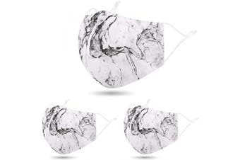 (3 Pcs_Marble Black) - Dust Masc Mouth Face Macsk Bandana Balaclavas Madks, 3 Pcs_Marble Black