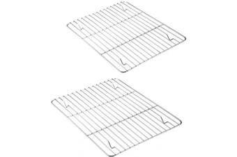 Baking Cooling Rack Set of 2, E-far Stainless Steel Metal Roasting Cooking Racks, Size - 25cm x 19cm , Non Toxic & Rust Free, Fit for Small Toaster Oven, Dishwasher Safe