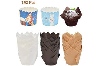 ATPWONZ 152pcs Tulip Baking Cups Muffin Cupcake Liner Unbleached Brown, Natural and White Baking Paper Cups, Rustic Cupcake Wrapper for Parties Weddings Anniversaries