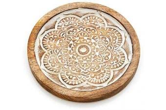 Set of 2 Wooden Trivet Tea Pot Holder Mandala Design Heat Resistant Durable Handmade Mango Wood Kitchen Dining Table Accessories Dia 20cm Inch