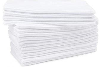 (White With 16pcs) - Beasea Kitchen Dish Towels Pack of 16, Microfiber Dish Cloths 21cm x 37cm Dish Rags Washing Cloths Highly Absorbent Cleaning Cloth for Household Cleaning