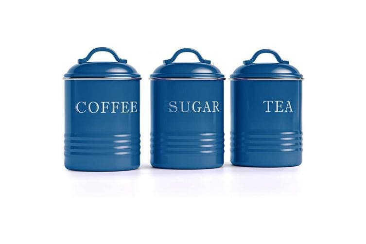 Barnyard Designs Airtight Kitchen Canister Decorations With Lids Blue Metal Rustic Farmhouse Country Decor Containers For Sugar Coffee Tea Storage Set Of 3 4 X 6 75 Kogan Com