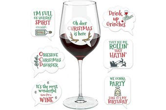 (Xmas) - Funny Christmas Wine Glass Drink Markers - Wine Charms Alternative - 18 Static Cling Reusable Stickers (Xmas)