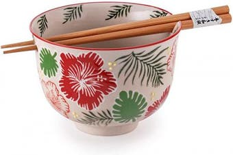 Quality Japanese Ramen Udon Noodle Bowl with Chopsticks Gift Set 13cm Diameter (Hibiscus)