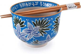 Quality Japanese Ramen Udon Noodle Bowl with Chopsticks Gift Set 13cm Diameter (Blue Flower)