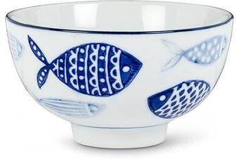 Abbott Collection 27-BLUEFISH-090 Rice bowl, 10cm , White/Blue
