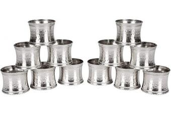 Alpha Living Home Metal Napkin Rings Set of 12, Beaded Napkin Holders, Hammered Napkin Rings Bulk for Party Decoration, Dinning Table, Everyday, Family Gatherings - A Great Tabletop Décor - Silver